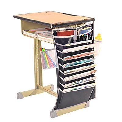 VIPASNAM-Multi-function Desk-Side 10Slot Oxford Fabric Adjustable Hanging Bag Book Pocket(color:black gb-CQ2132)