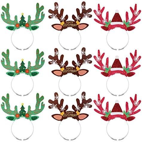 クリスマスカチューシャ トナカイ 可愛い ヘアアクセサリー 鹿の角 ヘアバンド クリスマス パーティー 髪飾り 大人子供兼用 9個セット
