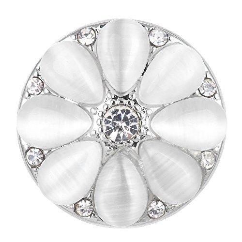 3 Colors 18mm Vocheng Snap Jewelry Rhinestone Flower Vn-1632 Pack of 2pcs (White) (White Rhinestone Snap)