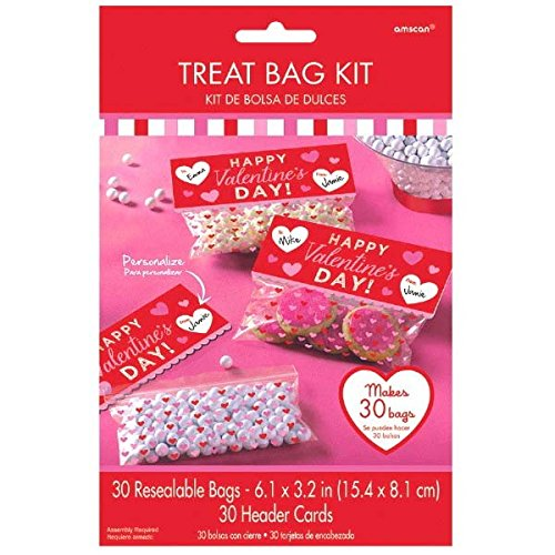 (amscan Radiant Valentine's Day Party Treat Bag Kit, Multicolor, 7