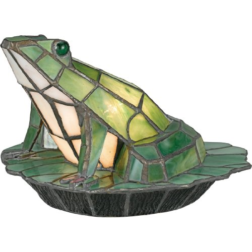 Quoizel TFX837Y Tiffany Frog on Pad Table Lamp, 1-Light, 7 Watts, Black (6