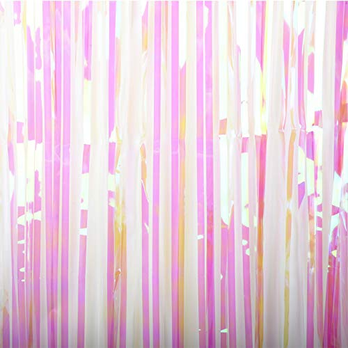 Blukey 2 Packs 3FTx8FT-Iridescent Wthie-Tinsel-Foil-Fringe-Curtain-Metallic-Photo-Shoots-Backdrop-Photography Backdrops for Pictures (2 Packs, Iridescent Wthie)