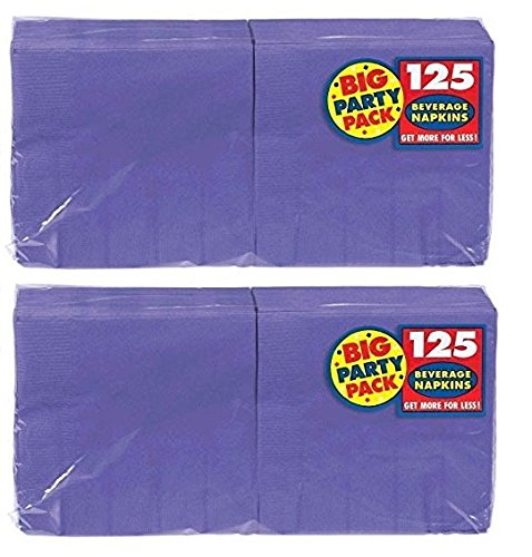 (Amscan Big Party Pack 250 Count Beverage Napkins, New Purple)