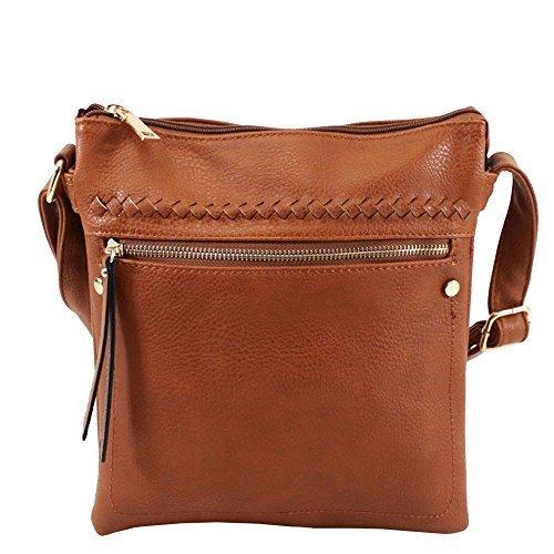 NEU vordere Reißverschlusstasche Kunstleder Damen Freizeit Umhängetasche Handtasche - Rot, Small Braun