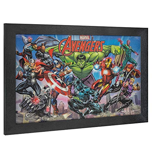 "(Crystal Art Licensed Marvel Original Avengers Comic Book Cover Framed Wall Art 19"" H x 13"" L Multicolored)"
