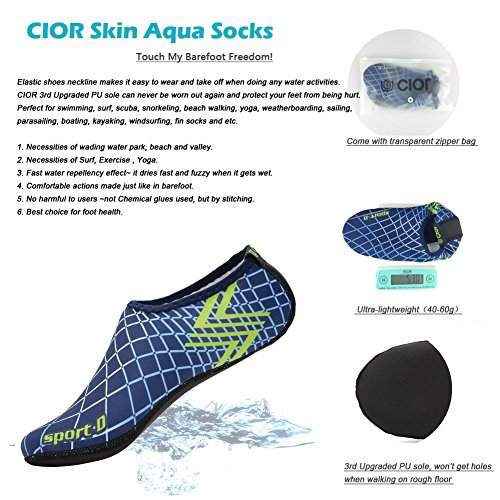 Water Aerobics Pool Surf Sole Water CIOR Beach Socks Yoga Shoes Upgraded Swim Barefoot Aqua Durable For 03blue Skin Sand qBBHTaw
