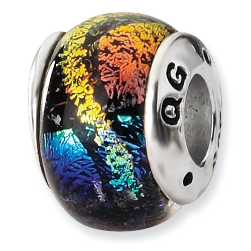 Rainbow Dichroic Glass and .925 Sterling Silver Bead ()