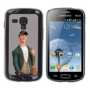 Ihec Tech Muchacho Lindo Friendly Art Dibujo Moda Casual / Funda Case back Cover guard / for Samsung Galaxy S Duos S7562