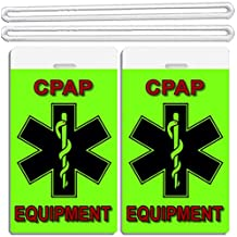 2x Fluorescent Green Medical CPAP Equipment ID Luggage Tags TSA Carry-On BiPAP APNEA POC APAP Respiratory Device