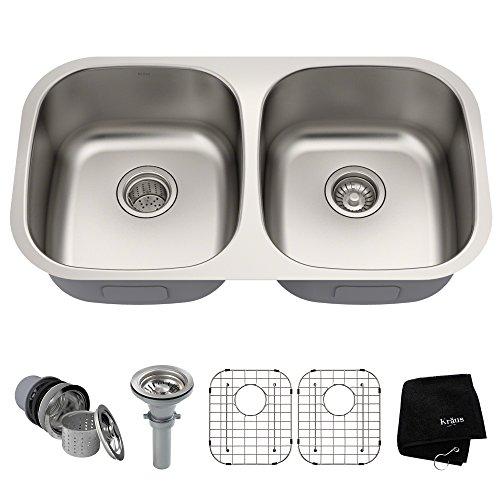 Kraus KBU22 32 inch Undermount 50/50 Double Bowl 16 gauge Stainless Steel Kitchen - Undermount Bowl One