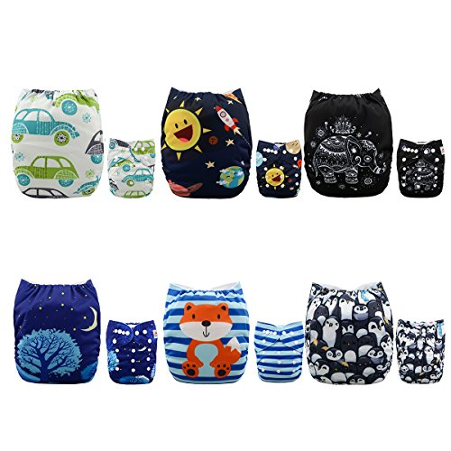 Alva Baby New Design Reuseable Washable Pocket Cloth Diaper 6 Nappies + 12 Inserts 6DM23 by ALVA