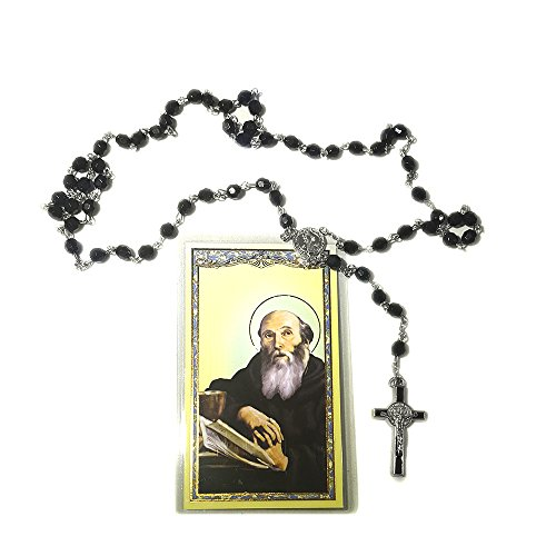 Saint Benedict Black Rosary and Prayer Card Gift set . St Benedict Rosary Necklace 6mm black beads with St Benedict Silver and Black Crucifix and St Benedict (Opal Oval Cross)