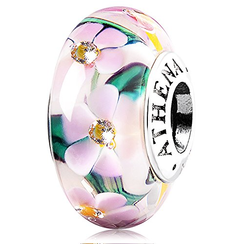 fc1b400cebf6 Amazon.com: ATHENAIE Murano Glass 925 Silver Core Flower Garden ...