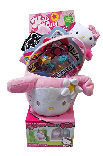 Hello Kitty Plush Pink Bunny Easter Gift Basket filled wi...