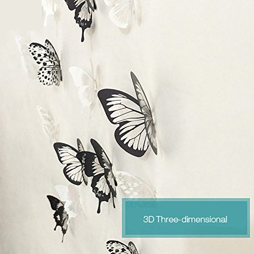 (Wall Art - Honana Dx-366 18pcs Black White Butterfly Wall Sticker FridgeHome Decor Art Applique - Fence Label Palisade Gummed Rampart)