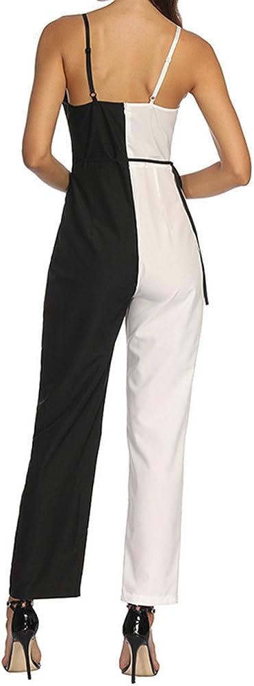 Italily Donna Elegante Tuta Pantaloni Lunghi Clubwear Patchwork Scollo a V Donna Tuta Eleganti Estiva Tute Jumpsuit Pagliaccetto Monopezzo Spiaggia Senza Maniche Tutine Intere Playsuit
