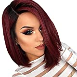 Maycaur Short Cut Bob Wig Synthetic Lace Front Wigs With Baby Hair for Black Women Black Red Ombre Color Bob Hair