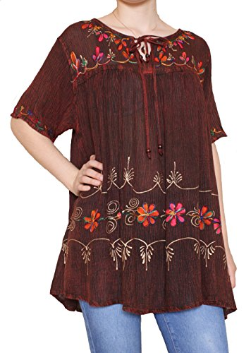 Sacred Threads Hand Painted Tunic in 6 Colors – One Size #218352 Brown