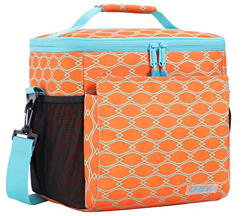 Insulated Leak Proof Cooler - MIER Insulated Lunch Bag Men and Women Soft Cooler Lunch Box Tote with Shoulder Strap, Leakproof Liner, 24 Can, Orange