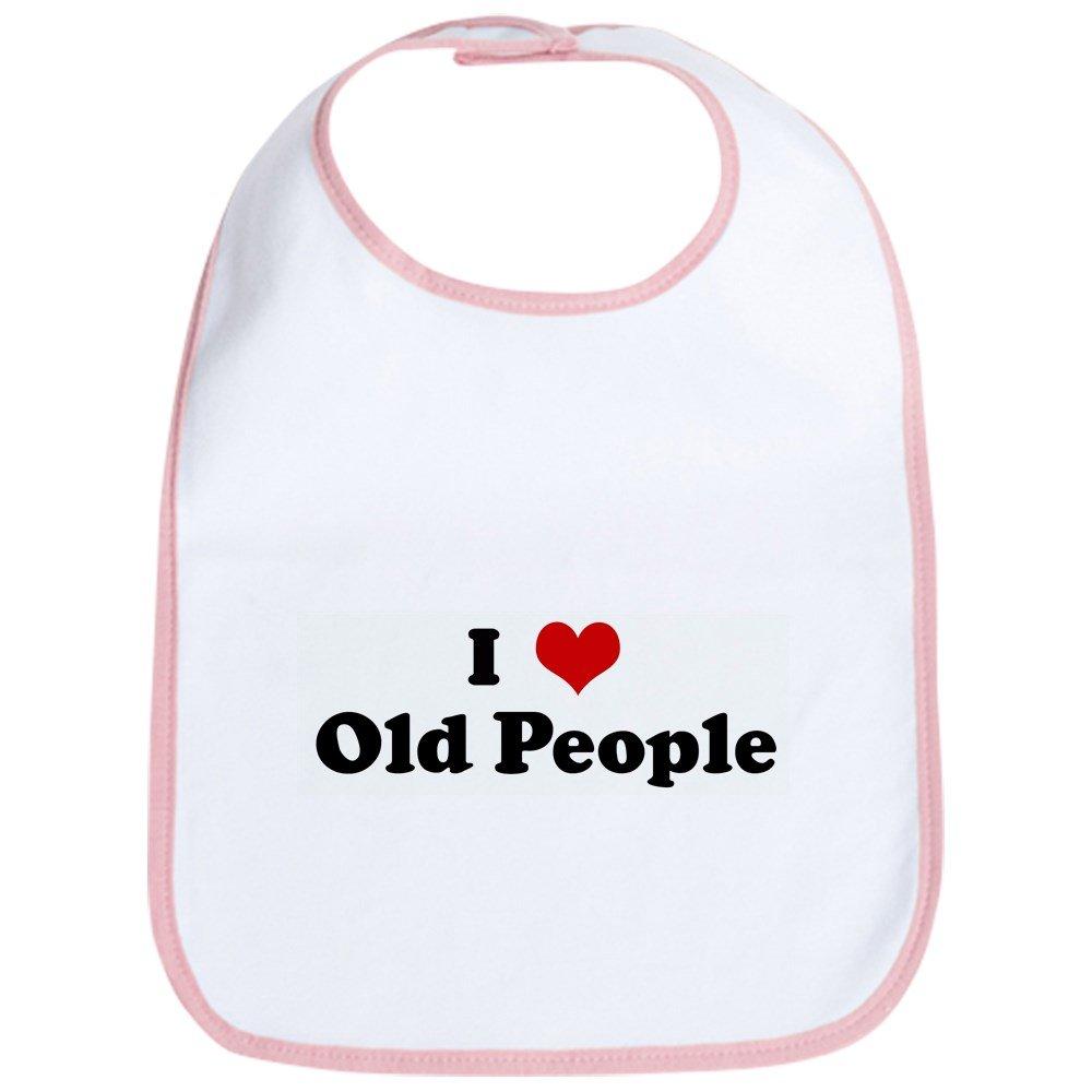 CafePress - I Love Old People Bib - Cute Cloth Baby Bib, Toddler Bib