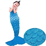 Airdom Mermaid Tail Blanket for Kids Toys Little Crochet Mermaid Blankets Best Birthday for Girls All Seasons Sleeping Throws 55.18 inch x 27.56 inch(A-Scaly-Kids-Blue)