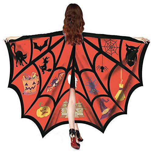 YOcheerful Women Men Halloween Scary Bat Shawl Costume