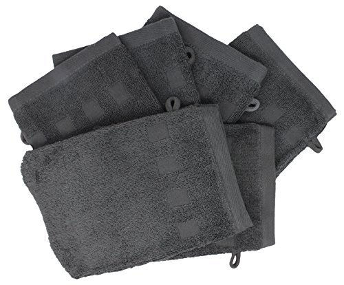 Set of 6 Charcoal Wash Mitts