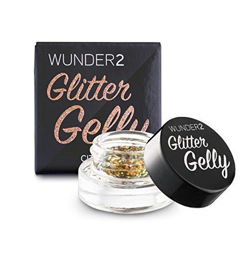WUNDER2 GLITTER GELLY Long Lasting Glitter Gel - Face, Eye and Body Glitter Makeup, Citrine Color -