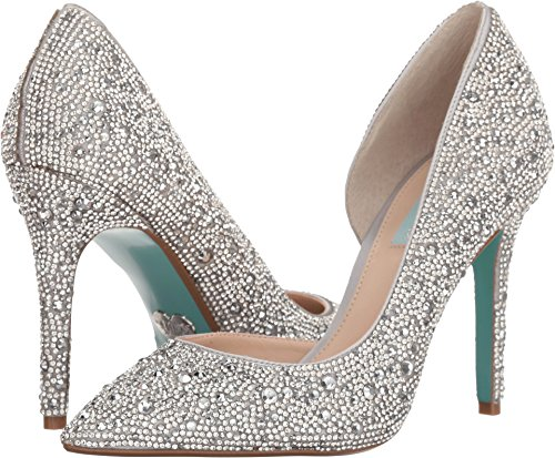 (Blue by Betsey Johnson Women's SB-HAZIL Pump, Silver Satin, 8.5 M)