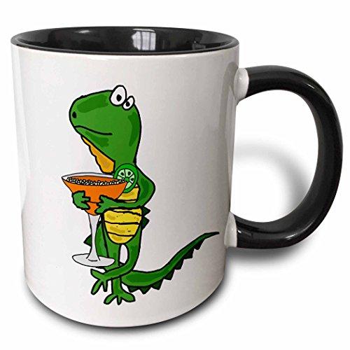 3dRose All Smiles Art Drinking - Funny Cute Iguana Drinking Margarita Art - 11oz Two-Tone Black Mug (mug_256475_4)