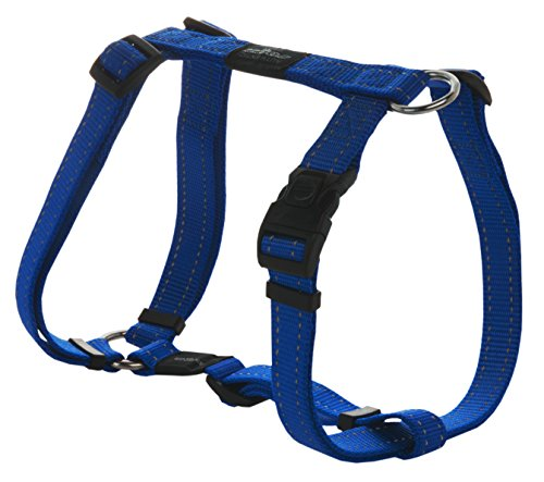 Reflective Adjustable Dog H Harness for Large Dogs; matching collar and leash available, Blue