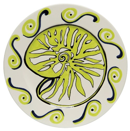 Caffco International Dana Wittmann Round Ceramic Serving Plate, Nautilus Shell