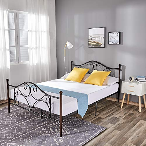 Classic Queen Bed Frame with Headboard Design, Includes Queen Metal Bed Frame with Slats Metal Bed with Victorian Vintage Footboard, Mattress Foundation with Steel Slats, No Box Spring Needed