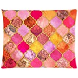 Hot Pink, Gold, Tangerine Decorative Moroccan Tile Pattern Zippered Pillow Case 20x26 (two sides)
