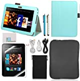 Llamamia Kindle Fire Hd 8.9″ Leather Case Cover Bundle in Retail Packaging-leather Case + Car Charger + Cable + Bag Sleeve + Screen Protector+ Sparkle Stylus Pen (Light Blue), Best Gadgets