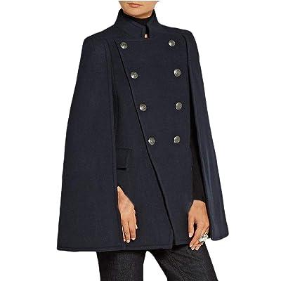 Andopa Del doble del botón capa de la capa del mantón mezcla de lana capa de lona para Mujeres: Ropa y accesorios