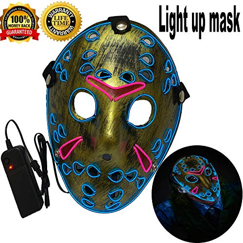 Halloween Mask Neon Mask led mask Scary Mask Light up Mask Cosplay Mask Lights up for Halloween Festival Party (Halloween mask BlueΠnk) -