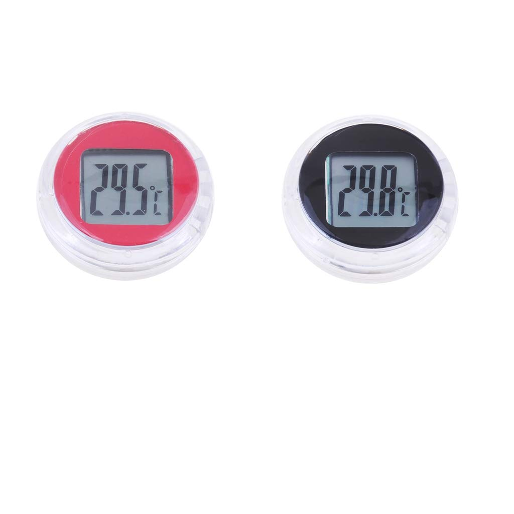 Homyl 2pcs Universal Motorcycle Temperature Digital Gauge Stick On Electronic Instruments, Round, Waterproof, Black & Red by Homyl