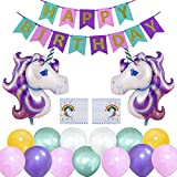WonderforU Happy Birthday Party Decorations Unicorn Theme, Happy Birthday Banner Garland and 2 pcs Huge Balloon Unicorn, 10 Birthday Gift Bag and 30 pcs Latex Party Balloons for Girls and Boys