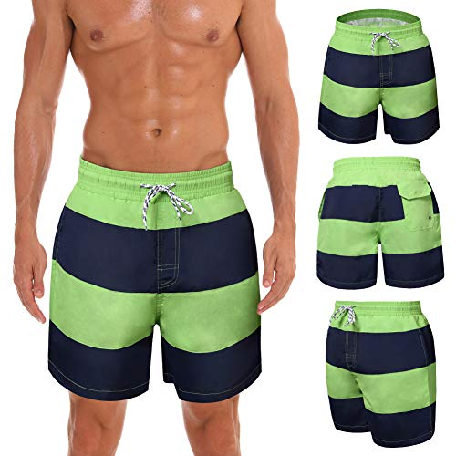 WENER Men's Short Swim Trunks Best Board Shorts for Sports Running Swimming Beach Surfing Quick Dry Breathable Mesh Lining (Green Stripe, US L (Fit Waist 34.5