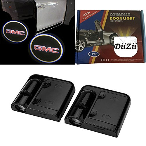 Diizii 10Th No Drill Wireless Car Door Welcome Projector Ghost Shadow Led Logo Lights For Gmc  Pack Of 2    Black