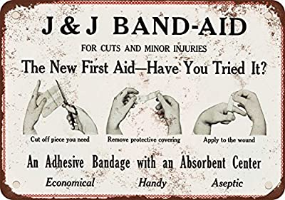 1921 Band-Aid Vintage Look Reproduction Metal Tin Sign 8X12 Inches