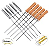 13pc BBQ Skewers Set with Metal Food Removal Ring, Stainless Steel Kebab Sticks Set BBQ Grilling Accessories Set in a Handy Storage Bag