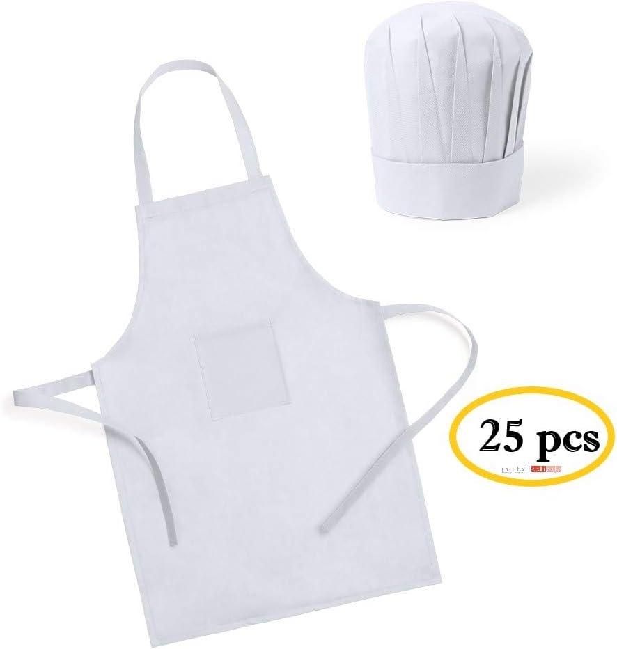 Publiclick Lote 25 Delantales + Gorros de Cocina Infantiles para ...