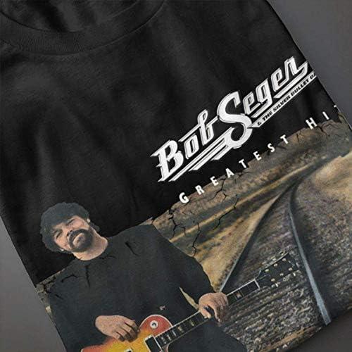 TTmomyt8 Womans Bob Seger The Silver Bullet Greatest Hits Fashion Music Band koszulka z krÓtkim rękawem: Odzież