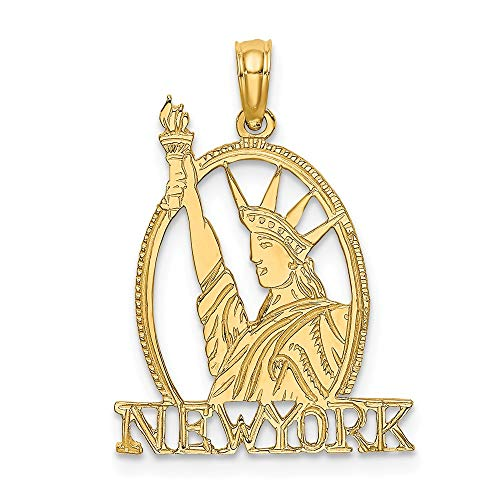 14k Yellow Gold Cut Out New York Statue Of Liberty Pendant Charm Necklace Travel Transportation Fine Jewelry Gifts For Women For Her