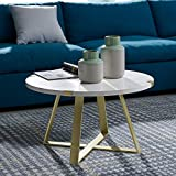 WE Furniture AZF30MWCTMG Coffee Table White Faux Marble/Gold For Sale