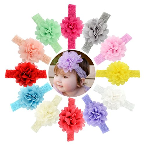 Welandtech Baby Girls Chiffon Flower Headbands Elastic Lace Hair Band 12 Value Pack