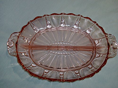 Anchor Hocking Oyster & Pearl Pattern Pink Depression Glass Divided Server