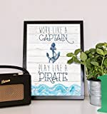 Work-Like-A-Captain-Play-Like-A-Pirate-11×14-Print-Pirate-Art-For-Kids-Baby-Art-Nursery-Dcor-for-Baby-Boy-Pirate-Artwork-Ahoey-Mate-Anchor-Wheel-Sailing-Ocean-Wall-Decor-Art-Prints